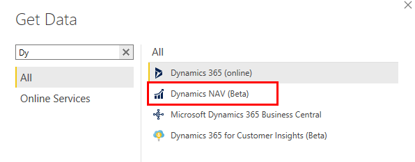 Connect Power BI with Dynamics NAV through Dynamics NAV connector